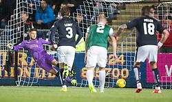 Falkirk's keeper Danny Rogers can't stop Hibernian's Jason Cummings penalty. Falkirk 0 v 1 Hibernian, Scottish Championship game played 20/10/2015 at The Falkirk Stadium.