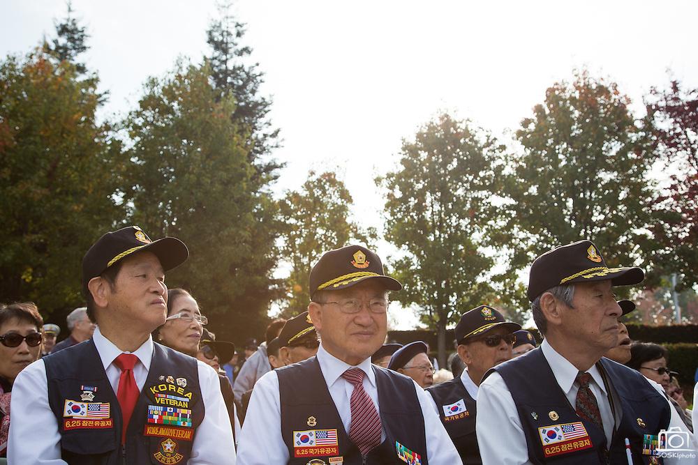 Dozens of Korean War veterans attend the Veterans Day Ceremony at Milpitas City Hall's Veterans Plaza in Milpitas, California, on November 11, 2013. (Stan Olszewski/SOSKIphoto)