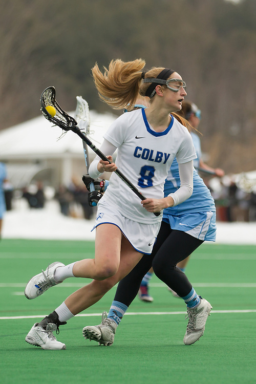 Emma Marjollet of Colby College, during a NCAA Division III women's lacrosse game against at Tufts University on March 15, 2014 in Waterville, ME. (Dustin Satloff/Colby Athletics)