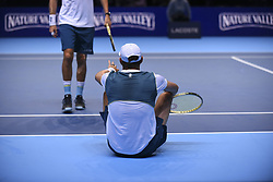 November 13, 2017 - London, United Kingdom - Bob and Mike Bryan of the United States in the Doubles match against Jamie Murray of Great Britain and Bruno Soares of Brazil during day two of the Nitto ATP World Tour Finals at O2 Arena, London on November 13, 2017. (Credit Image: © Alberto Pezzali/NurPhoto via ZUMA Press)