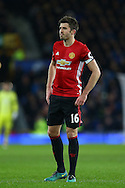 Michael Carrick of Manchester United looks on. Premier league match, Everton v Manchester United at Goodison Park in Liverpool, Merseyside on Sunday 4th December 2016.<br /> pic by Chris Stading, Andrew Orchard sports photography.