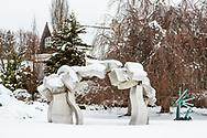 Sculpture by Hans Van de Bovenkamp,  Susan and Louis K. Meisel Sculpture Garden in the Winter, Sagaponack, NY