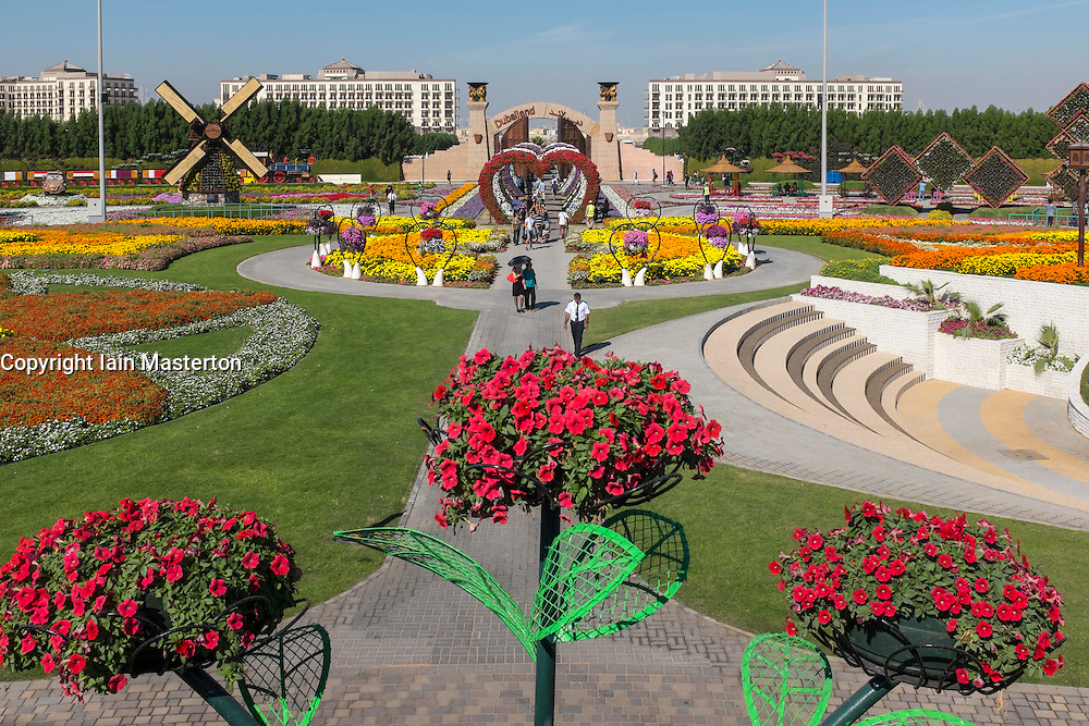 View of gardens at  Miracle Garden the world's biggest flower garden in Dubai United Arab Emirates