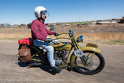 Birtrand Miskell riding his 1916 Harley-Davidson through the eastern plains of Colorado during the Motorcycle Cannonball Race of the Century. Stage-9 Dodge City, KS to Pueblo, CO. USA. Monday September 19, 2016. Photography ©2016 Michael Lichter