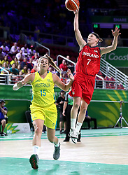 England's Rachael Vanderwal (right) and Australia's Cayla George in action in the Women's Gold Medal Game at the Gold Coast Convention and Exhibition Centre during day ten of the 2018 Commonwealth Games in the Gold Coast, Australia.