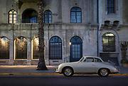 Image of a 1958 Porsche 356 Silver Cabriolet automobile, Riverside, California, America west coast by Randy Wells