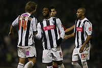 Photo: Rich Eaton.<br /> <br /> West Bromwich Albion v Cardiff City. Coca Cola Championship. 20/02/2007. Nathan Ellington (centre) all smiles at the end of the game after he scored the only goal of the game for West Brom