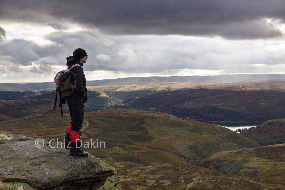 Enjoying a view north-westwards from Howden Edge, some distance after crossing the plateau.
