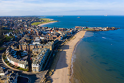 Aerial view of North Berwick town in East Lothian, Scotland, UK