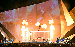 Kendrick Lamar performs on stage during the 2018 BRIT Awards show, held at the O2 Arena, London. EDITORIAL USE ONLY. PRESS ASSOCIATION Photo. Picture date: Wednesday February 21, 2018. See PA Story SHOWBIZ Brits. Photo credit should read: Victoria Jones/PA Wire.