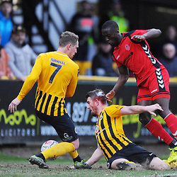 TELFORD COPYRIGHT MIKE SHERIDAN 2/3/2019 - Dan Udoh of AFC Telford tries to bundle the ball over the line in the dying moments during the National League North fixture between Boston United and AFC Telford United at the York Street Jakemans Stadium