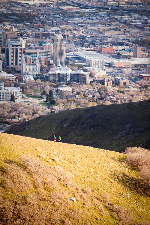Mindy Campbell and Andrew Jensen running in the foothills above Salt Lake City.