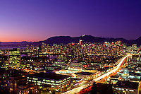 Downtown Vancouver (Cambie Street and the Cambie Bridge in foreground), British Columbia, Canadda