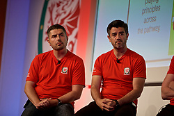 NEWPORT, WALES - Friday, May 24, 2019: Ryan Maye (L) and Tom Ramasut (R) during day one of the Football Association of Wales National Coaches Conference 2019 at the Celtic Manor Resort. (Pic by David Rawcliffe/Propaganda)