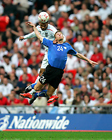 Photo: Tom Dulat.<br /> England v Estonia. UEFA European Championships Qualifying. 13/10/2007.<br /> Kristen Viikmae of Estonia and Joleon Lescott of England heading for the ball