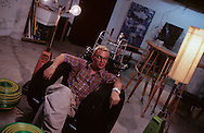 New York. Brooklyn. DUMBO area, artist studio in Brooklyn; Allen Tricy surrounded by his works  New York  Usa /   Dumbo, atelier d'artistes à Brooklyn;  Allen Tricy artiste designer au milieu de ses creations  New York  USa