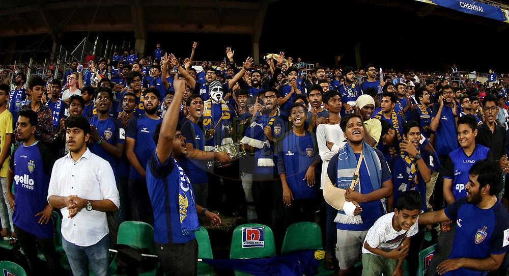 Chennaiyin FC fan's during match 27 of the Hero Indian Super League 2018 ( ISL ) between Chennaiyin FC  and Mumbai City FC  held at the Jawaharlal Nehru Stadium, Chennai, India on the 3rd November 2018<br /> <br /> Photo by: Sandeep Shetty /SPORTZPICS for ISL