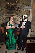 KAT BLACK; TOM SAUNDERSON, Ball at to celebrateBlanche Howard's 21st and  George Howard's 30th  birthday. Dress code: Black Tie with a touch of Surrealism. Castle Howard. Yorkshire. 14 November 2015