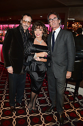 Left to right, TOM FORD, JOAN COLLINS and TIM JEFFERIES at a party to celebrate the publication of 'Passion for Life' by Joan Collins held at No41 The Westbury Hotel, Mayfair, London on21st October 2013.