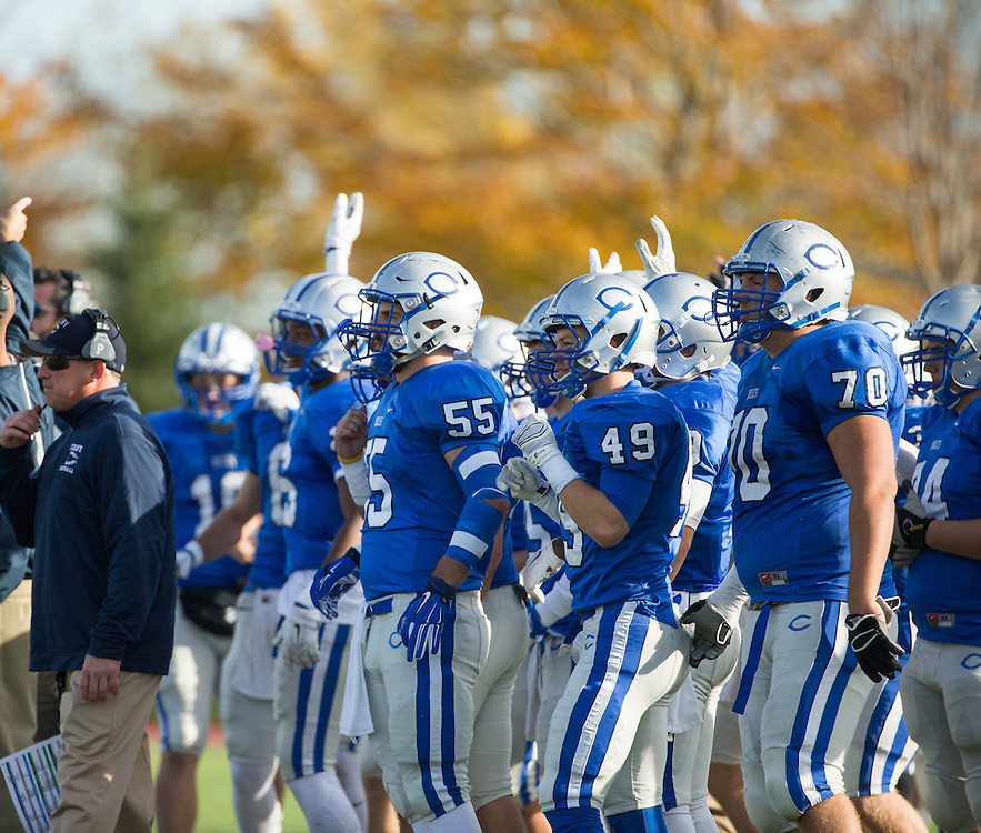 Colby College football players signal from the bench after Colby recovered a fumble during a NCAA Division III football game between Colby College and Bates College at Seaverns Field at Harold Alfond Stadium on October 24, 2015 in Waterville, Maine. (Dustin Satloff)