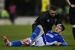 Oldham Athletic's William Gros receives treatment for a head injury  - Photo mandatory by-line: Matt McNulty/JMP - Mobile: 07966 386802 - 24/03/2015 - SPORT - Football - Oldham - Boundary Park - Oldham Athletic v Rochdale - SkyBet League 1