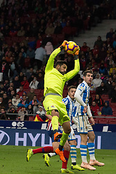 October 27, 2018 - Madrid, Madrid, Spain - Moya (L) blocks the ball..during the match between Atletico de Madrid vs Real Sociedad. Atletico de Madrid won by 2 to 0 over Real Sociedad whit goals of Godin and Filipe Luis. (Credit Image: © Jorge Gonzalez/Pacific Press via ZUMA Wire)