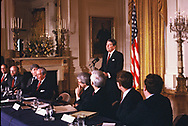 Washington, DC  1985/03/01  President Ronald Reagan meets with governors in the East Room of the White House. <br /><br />Photograph by Dennis Brack