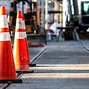 Kansas City Streetcar Line construction progress at 16th & Main.