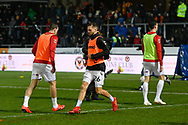 Lewis Wing (26) of Middlesbrough warming up before the The FA Cup match between Newport County and Middlesbrough at Rodney Parade, Newport, Wales on 5 February 2019.