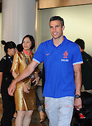 BEIJING, CHINA - JUNE 08: (CHINA OUT) <br /> <br /> Dutch national football team player Robin van Persie arrives at Beijing Capital International Airport on June 8, 2013 in Beijing, China. ©Exclusivepix