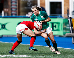 Beibhinn Parsons of Ireland  is tackled by Jasmine Joyce of Wales<br /> <br /> Photographer Simon King/Replay Images<br /> <br /> Six Nations Round 5 - Wales Women v Ireland Women- Sunday 17th March 2019 - Cardiff Arms Park - Cardiff<br /> <br /> World Copyright © Replay Images . All rights reserved. info@replayimages.co.uk - http://replayimages.co.uk