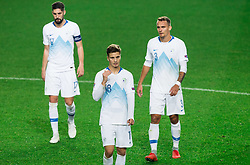 Miha Mevlja of Slovenia, Luka Zahovic of Slovenia and Jure Balkovec of Slovenia after the football match between National Teams of Slovenia and Cyprus in Final Tournament of UEFA Nations League 2019, on October 16, 2018 in SRC Stozice, Ljubljana, Slovenia. Photo by Vid Ponikvar / Sportida