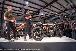 Custom builder J Shia of Madhouse Motors speaking about her BSA at the Old Iron - Young Blood exhibition media and industry reception in the Motorcycles as Art gallery at the Buffalo Chip during the annual Sturgis Black Hills Motorcycle Rally. Sturgis, SD. USA. Sunday August 6, 2017. Photography ©2017 Michael Lichter.