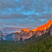 Yosemite Valley Overlook - Sunset Full Golden Light Rim - HDR