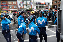 Movistar Women's Team riders wait for the sign-on before the Liege-Bastogne-Liege Femmes - a 138.5 km road race, between Bastogne and Liege on April 28, 2019, in Wallonie, Belgium. (Photo by Balint Hamvas/Velofocus.com)