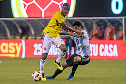 September 11, 2018 - East Rutherford, NJ, U.S. - EAST RUTHERFORD, NJ - SEPTEMBER 11: Colombia defender Deiver Machado (3) fends off Argentina midfielder Ezequiel Palacios (19) during the first half of the International Friendly Soccer match between Argentina and Colombia on September 11, 2018 at MetLife Stadium in East Rutherford, NJ. (Photo by John Jones/Icon Sportswire) (Credit Image: © John Jones/Icon SMI via ZUMA Press)