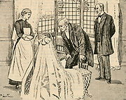 Admiring a new baby in its cot. Engraving 1887.
