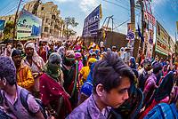 Massive crowds celebrating Holi (festival of colors), Vrindavan, near Mathura, Uttar Pradesh, India.
