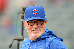 May 15, 2018 - Atlanta, GA, U.S. - ATLANTA, GA Ð MAY 15:  Cubs manager Joe Maddon in the dugout prior to the start of the game between Atlanta and Chicago on May 15th, 2018 at SunTrust Park in Atlanta, GA. The Chicago Cubs beat the Atlanta Braves by a score of 3 Ð 2.  (Photo by Rich von Biberstein/Icon Sportswire) (Credit Image: © Rich Von Biberstein/Icon SMI via ZUMA Press)