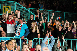 Supporters of Dejan Zavec alias Jan Zaveck of Slovenia (Red) vs Sasha Yengoyan (Blue) of Belgium at Fight for World WBF Champion during First Class Boxing event, on April 11, 2015 in Arena Tabor, Maribor, Slovenia. Photo by Vid Ponikvar / Sportida