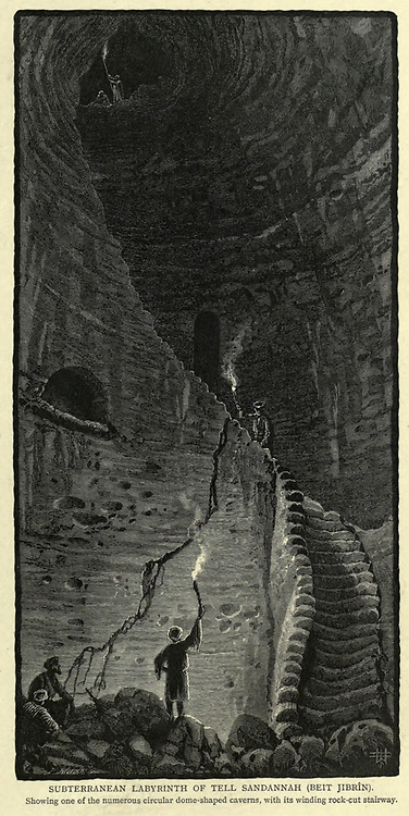 SUBTERRANEAN LABYRINTH OF TELL SANDANNAH [BEIT JIBRlN, Beit Guvrin and Maresha]. Showing one of the numerous circular dome-shaped caverns, with its winding rock-cut stairway Wood engraving of from 'Picturesque Palestine, Sinai and Egypt' by Wilson, Charles William, Sir, 1836-1905; Lane-Poole, Stanley, 1854-1931 Volume 3. Published in by J. S. Virtue and Co 1883