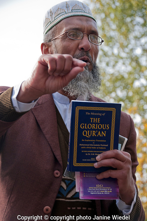 Muslim man preaching about the Quoran at Speakers Corner in Central London on a Sunday