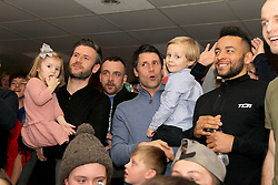 Lincoln City coaches Nicky (left) and Danny Cowley watch the Emirates FA Cup, Quarter Final draw in the Travis Perkins bar at Sincil Bank, Lincoln.