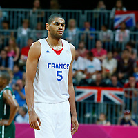06 August 2012: France Nicolas Batum looks dejected during 79-73 Team France victory over Team Nigeria, during the men's basketball preliminary, at the Basketball Arena, in London, Great Britain.