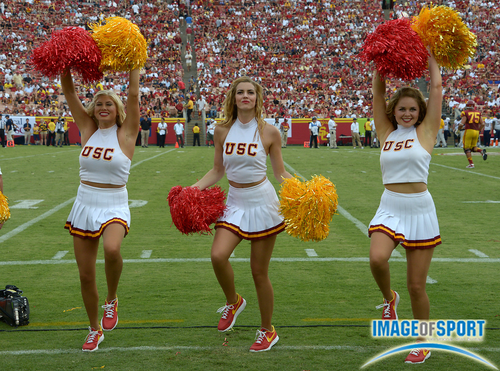 Sep 22, 2012; Anaheim, CA, USA; Southern California Trojans song girls cheerleaders perform during the game against the California Golden Bears at the Los Angeles Memorial Coliseum. USC defeated California 27-9.