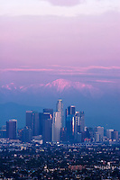 Downtown L.A. Skyline with Snow-Capped Mount Baldy in Background, California