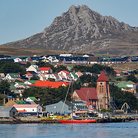 View of Christ Church Cathedral and the capital city Stanley, East Falkland Island, Falkland Islands.