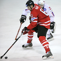 Rick Nash of Canada and Anders Bastiansen of Norway at play-off round quarterfinals ice-hockey game Norway vs Canada at IIHF WC 2008 in Halifax,  on May 14, 2008 in Metro Center, Halifax, Nova Scotia,Canada. (Photo by Vid Ponikvar / Sportal Images)