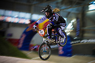 #112 (THIBAUT Sandie) FRA at the 2014 UCI BMX Supercross World Cup in Manchester.