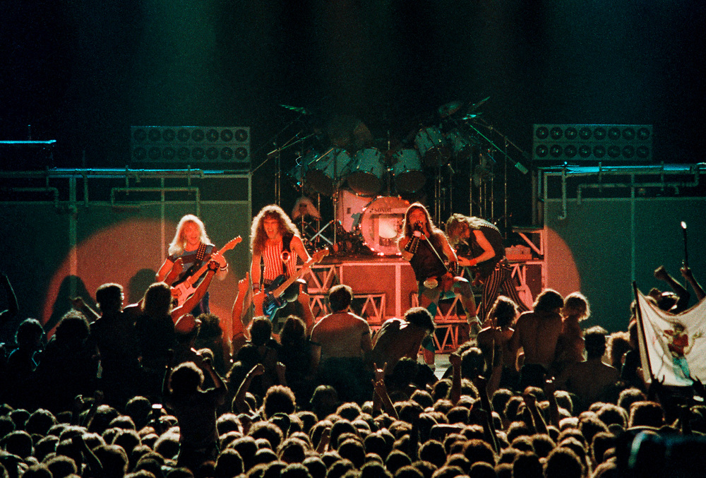 ALLENTOWN - AUGUST 18: Iron Maiden performs at the Allentown Fairgrounds on August 18, 1983, in Allentown, Pennsylvania. (Photo by Lisa Lake)